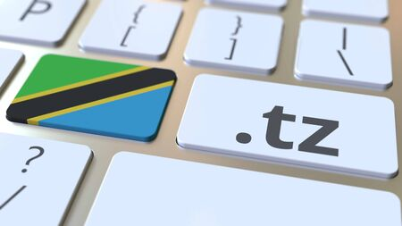 Tanzanian domain .tz and flag of Tanzania on the buttons on the computer keyboard. National internet related 3D rendering
