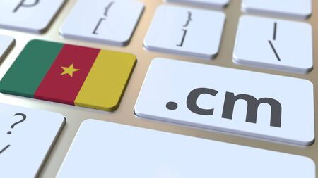 Cameroonian domain .cm and flag of Cameroon on the buttons on the computer keyboard. National internet related 3D rendering