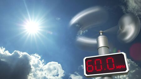 Digital anemometer displays 60 mph wind speed. Hurricane forecast related 3D rendering Stock Photo
