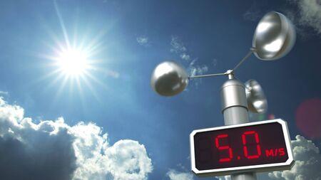 El anemómetro muestra una velocidad del viento de 5 metros por segundo. Representación 3D relacionada con el pronóstico del tiempo