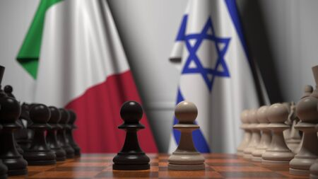 Flags of Italy and Israel behind pawns on the chessboard. Chess game or political rivalry related 3D rendering