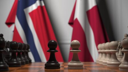 Flags of Norway and Denmark behind pawns on the chessboard. Chess game or political rivalry related 3D rendering