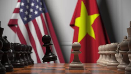 Flags of the USA and Vietnam behind pawns on the chessboard. Chess game or political rivalry related 3D rendering