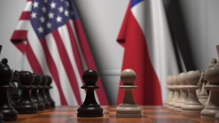 Flags of USA and Chile behind pawns on the chessboard. Chess game or political rivalry related 3D rendering