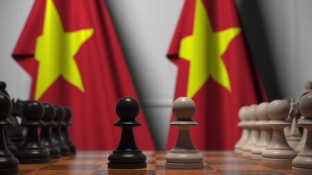Flags behind pawns on the chessboard. Political rivalry related 3D Stock Photo