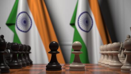 Chess game against flags of India. Political competition related 3D rendering
