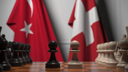 Chess game against flags of Turkey and Switzerland. Political competition related 3D rendering