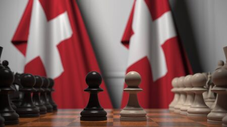 Chess game against flags of Switzerland. Political competition related 3D rendering