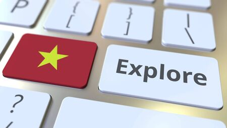 EXPLORE word and national flag of Vietnam on the buttons of the keyboard. 3D rendering