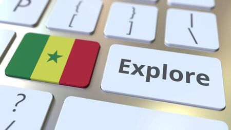 EXPLORE word and national flag of Senegal on the buttons of the keyboard. 3D rendering