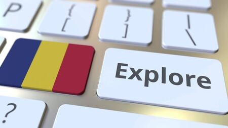 EXPLORE word and national flag of Romania on the buttons of the keyboard. 3D rendering Stok Fotoğraf
