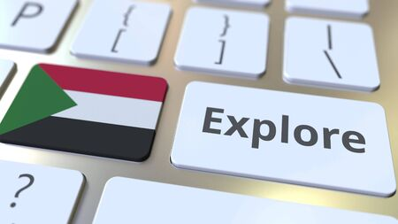 EXPLORE word and national flag of Sudan on the buttons of the keyboard. 3D rendering