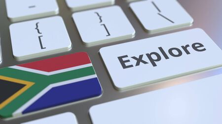 EXPLORE word and national flag of South Africa on the buttons of the keyboard. 3D rendering
