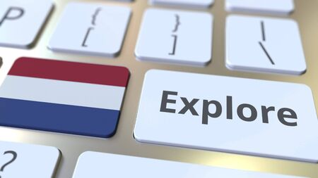 EXPLORE word and national flag of the Netherlands on the buttons of the keyboard. 3D rendering Stok Fotoğraf