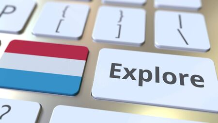 EXPLORE word and national flag of Luxembourg on the buttons of the keyboard. 3D rendering