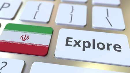 EXPLORE word and national flag of Iran on the buttons of the keyboard. 3D rendering