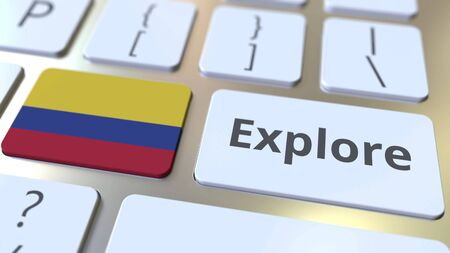 EXPLORE word and national flag of Colombia on the buttons of the keyboard. 3D rendering
