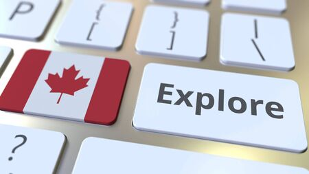 EXPLORE word and national flag of Canada on the buttons of the keyboard. 3D rendering