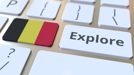EXPLORE word and national flag of Belgium on the buttons of the keyboard. 3D rendering