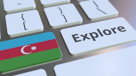 EXPLORE word and national flag of Azerbaijan on the buttons of the keyboard. 3D rendering