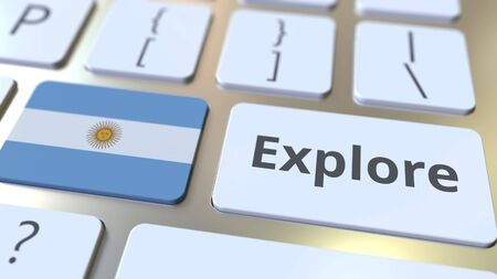 EXPLORE word and national flag of Argentina on the buttons of the keyboard. 3D rendering