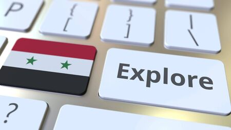 EXPLORE word and national flag of Syria on the buttons of the keyboard. 3D rendering