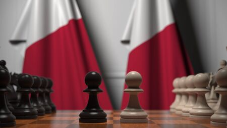 Chess game against flags of Malta. Political competition related 3D rendering