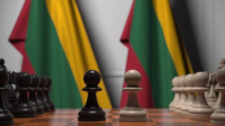 Chess game against flags of Lithuania. Political competition related 3D rendering