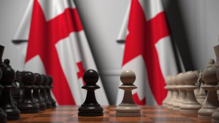 Chess game against flags of Georgia. Political competition related 3D rendering