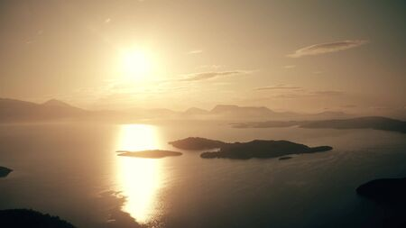 Aerial view of a beautiful sunset at the Ionian Sea, Greece