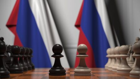 Chess game against flags of Russia. Political competition related 3D rendering