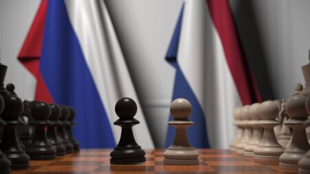 Chess game against flags of Russia and Netherlands. Political competition related 3D rendering