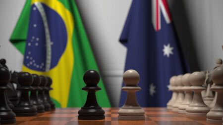 Chess game against flags of Brazil and Australia. Political competition related 3D rendering