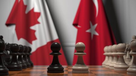 Chess game against flags of Canada and Turkey. Political competition related 3D rendering