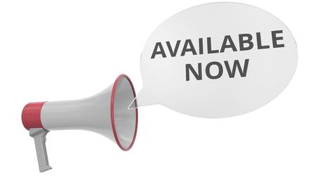 Grey megaphone with AVAILABLE NOW message on speech bubble. Conceptual 3D rendering