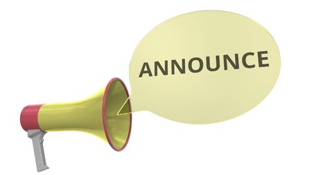 Yellow megaphone with ANNOUNCE text on speech bubble. Conceptual 3D rendering