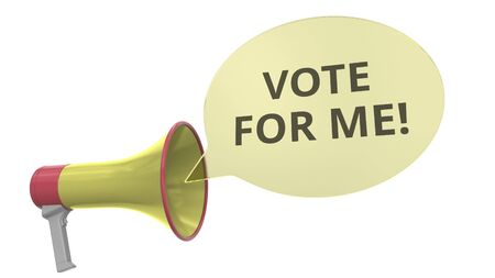 Yellow loudspeaker with VOTE FOR ME message on speech bubble. Conceptual 3D rendering