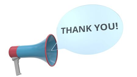 Blue loudspeaker with THANK YOU message on speech bubble. Conceptual 3D rendering
