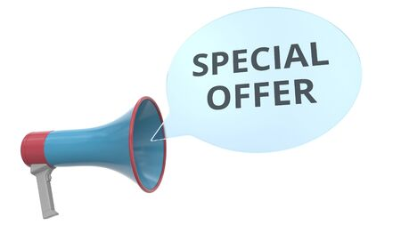 Blue megaphone with SPECIAL OFFER message on speech bubble. Conceptual 3D rendering