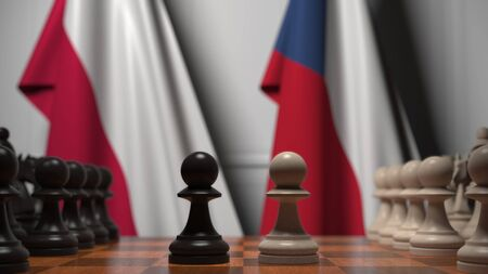 Flags of Poland and the Czech Republic behind pawns on the chessboard. Chess game or political rivalry related 3D rendering