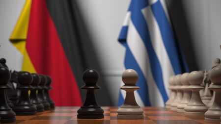 Flags of Germany and Greece behind pawns on the chessboard. Chess game or political rivalry related 3D rendering