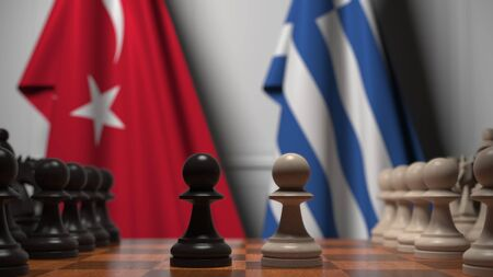 Flags of Turkey and Greece behind pawns on the chessboard. Chess game or political rivalry related 3D rendering