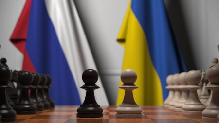 Flags of Russia and Ukraine behind pawns on the chessboard. Chess game or political rivalry related 3D rendering