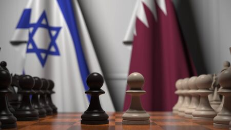 Flags of Israel and Qatar behind pawns on the chessboard. Chess game or political rivalry related 3D rendering Archivio Fotografico