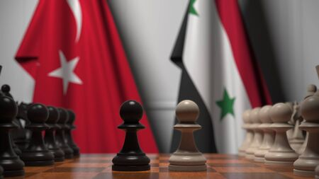 Flags of Turkey and Syria behind pawns on the chessboard. Chess game or political rivalry related 3D rendering