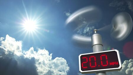 Wind speed measuring anemometer displays 20 mph. Weather forecast related 3D rendering Stock Photo