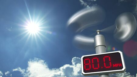 Anemometer displays 80 mph wind speed. Hurricane forecast related 3D rendering