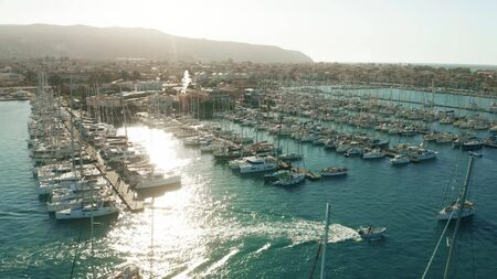 Aerial view of marina on a sunny day