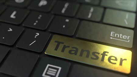 Black computer keyboard and gold key. Conceptual 3D