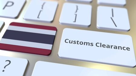 CUSTOMS CLEARANCE text and flag of Thailand on the computer keyboard. Import or export related conceptual 3D rendering Фото со стока